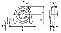 BPW200 series pillow block unit drawing