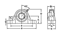 UCSP200 Series Pillow block bearing drawing