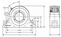 M3000 2-bolt pillow block drawing