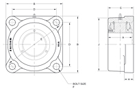 M3000 4-Bolt Flange Bearing Drawing