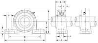 UCPX Series Medium Duty Ball Bearing Drawing