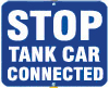 Stop Tank Car Connected Sign - Blue