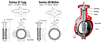 Bray Series 20/21 Butterfly Valve Drawing