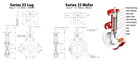 Bray Series 22/23 Butterfly Valves Drawing