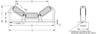 Rubber Cushion Impact Troughing Idler Drawing